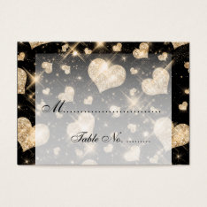 Elegant Wedding Placecards Gold Glitter Hearts Business Card at Zazzle