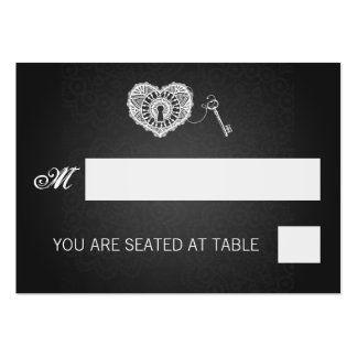 Elegant Wedding Placecards Key To My Heart Black Large Business Card