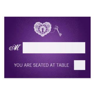 Elegant Wedding Placecards Key To My Heart Purple Large Business Card
