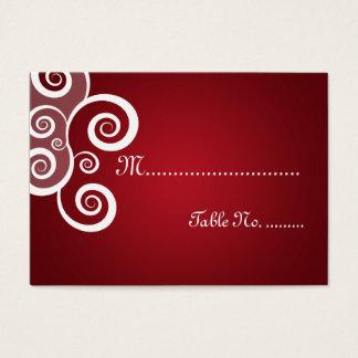 Elegant Wedding Placecards White Swirls Red Business Card