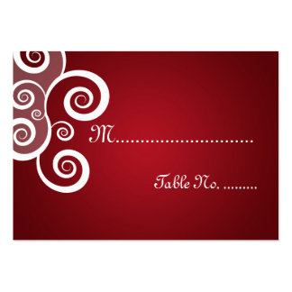 Elegant Wedding Placecards White Swirls Red Business Card Template