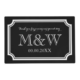 elegant wedding placemats with stylish monogram