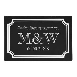 Elegant wedding placemats with stylish monogram