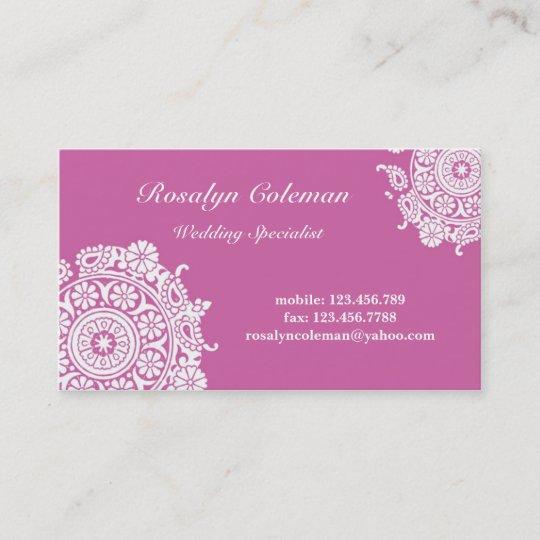 elegant wedding planner business card in pink  zazzle