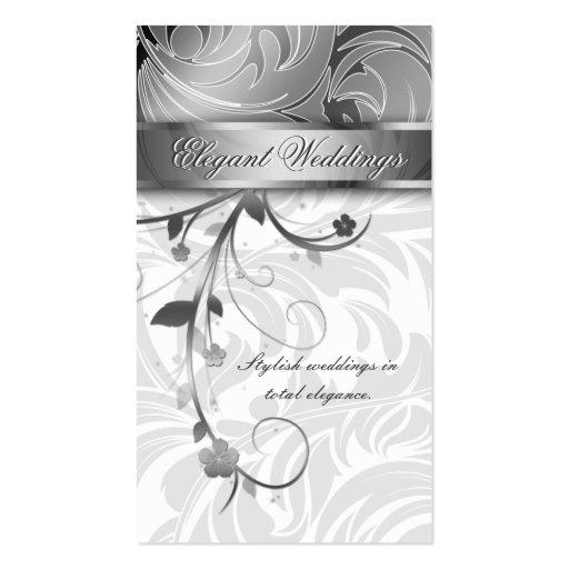 Elegant Wedding Planner Floral Leaf Silver Business Card Templates
