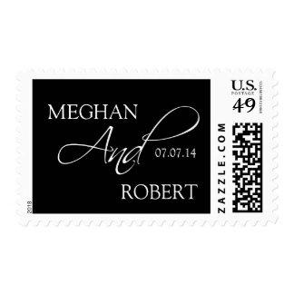 Elegant Wedding Postage Stamps Black Names