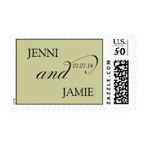 Elegant Wedding Postage Stamps Names Date