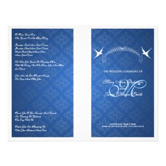 Elegant Wedding Program Birds Monogram Blue