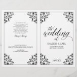 """Elegant Wedding Program Booklet - Nadine (Black)<br><div class=""""desc"""">This elegant wedding program template features ornate vintage corners. The design color is set in black, but you can change the color of the design by changing your background color. **HOW TO CHANGE YOUR DESIGN COLOR** 1) Click the """"Personalize"""" Button. 2) Click the """"ClICK TO CUSTOMIZE FURTHER"""" link at the...</div>"""