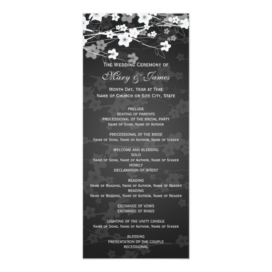 Elegant Wedding Program Cherry Blossom Black