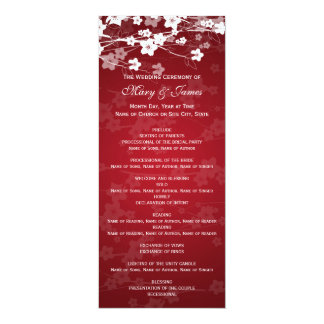 Elegant Wedding Program Cherry Blossom Red Card