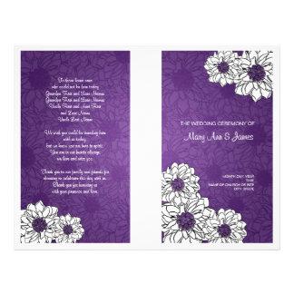 Elegant Wedding Program Dahlia Floral Purple