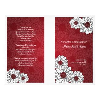 Elegant Wedding Program Dahlia Floral Red