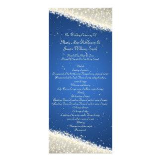 Elegant Wedding Program Dazzling Sparkles Blue Invite