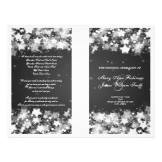 Elegant Wedding Program Dazzling Stars Black