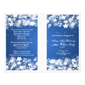Elegant Wedding Program Dazzling Stars Blue