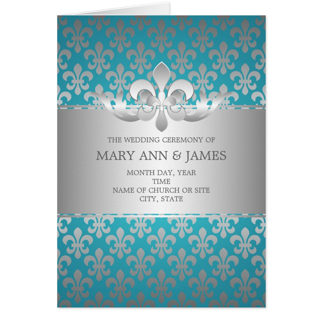 Elegant Wedding Program Fleur De Lis Blue Cards