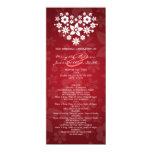 Elegant Wedding Program Flowery Heart Red Personalized Invite