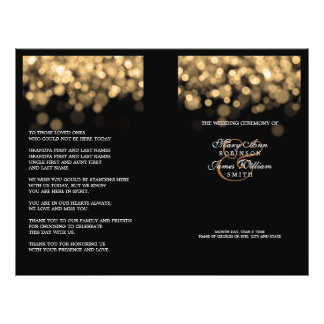 Elegant Wedding Program Gold Lights