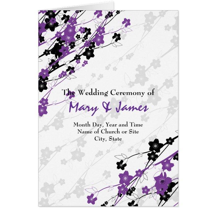 Elegant Wedding Program  Japanese Flowers Purple Card