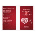 Elegant Wedding Program Key To My Heart Red Custom Flyer