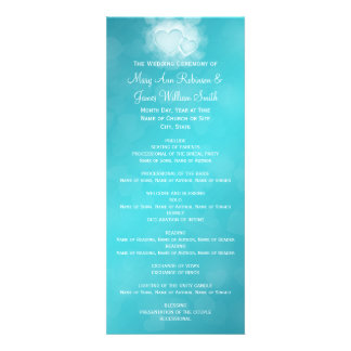 Elegant Wedding Program Modern Hearts Blue Custom Invitation