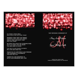 Elegant Wedding Program Party Sparkles Red