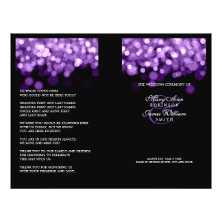 Elegant Wedding Program Purple Lights