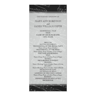 Elegant Wedding Program Sheet Music Black