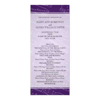 Elegant Wedding Program Sheet Music Purple