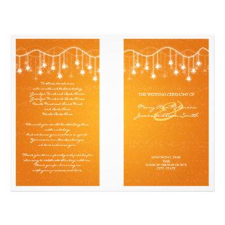 Elegant Wedding Program Shimmering Stars Orange