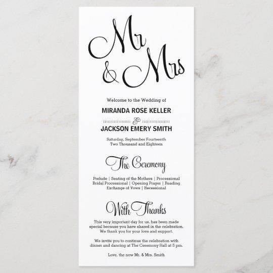 Elegant Script Monogram Flourish 5X8 Two Sided Wedding Ceremony Program  Gray and Eggplant