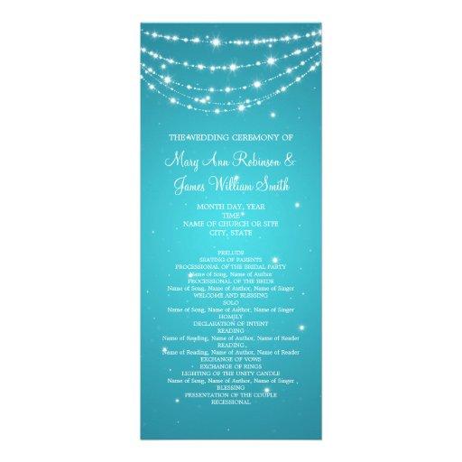 Elegant Wedding Program Sparkling Chain Blue Custom Invitations
