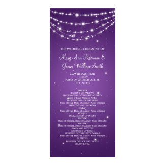 Elegant Wedding Program Sparkling Chain Purple Personalized Invite