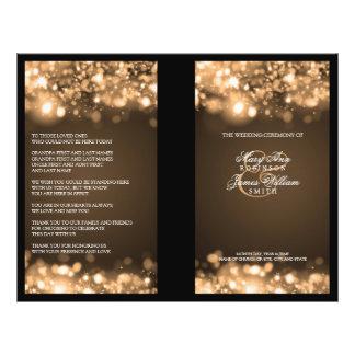 Elegant Wedding Program Sparkling Lights Gold