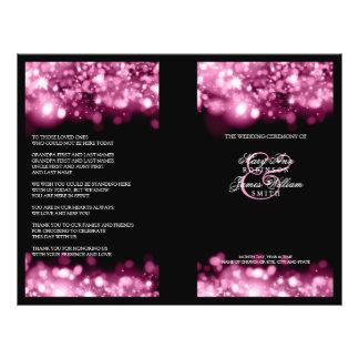 Elegant Wedding Program Sparkling Lights Pink