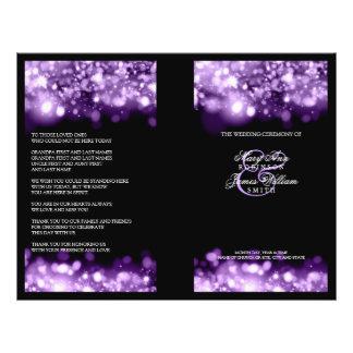 Elegant Wedding Program Sparkling Lights Purple