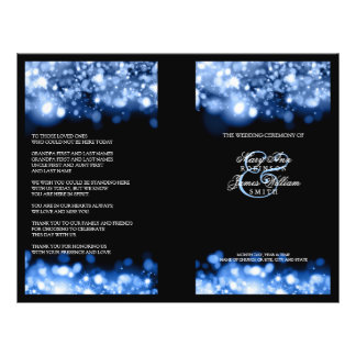 Elegant Wedding Program Sparkling Lights Sapphire