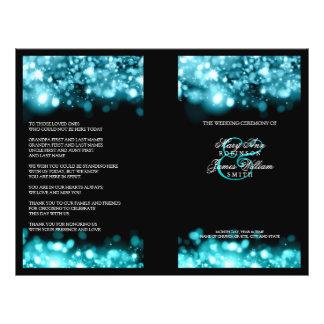 Elegant Wedding Program Sparkling Lights Turquoise