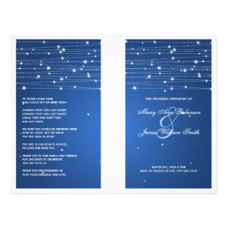 Elegant Wedding Program Sparkling Lines Sapphire