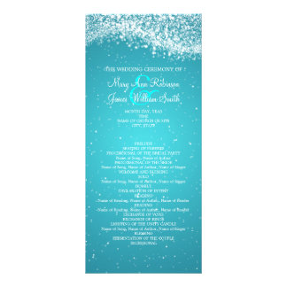 Elegant Wedding Program Sparkling Wave Blue