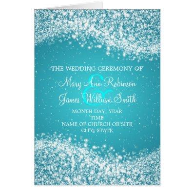 Elegant Wedding Program Sparkling Wave Blue Cards