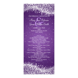 Elegant Wedding Program Sparkling Wave Purple Invites