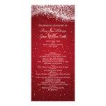 Elegant Wedding Program Sparkling Wave Red Full Color Rack Card