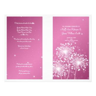 Elegant Wedding Program Summer Sparkle Rose Pink Custom Flyer