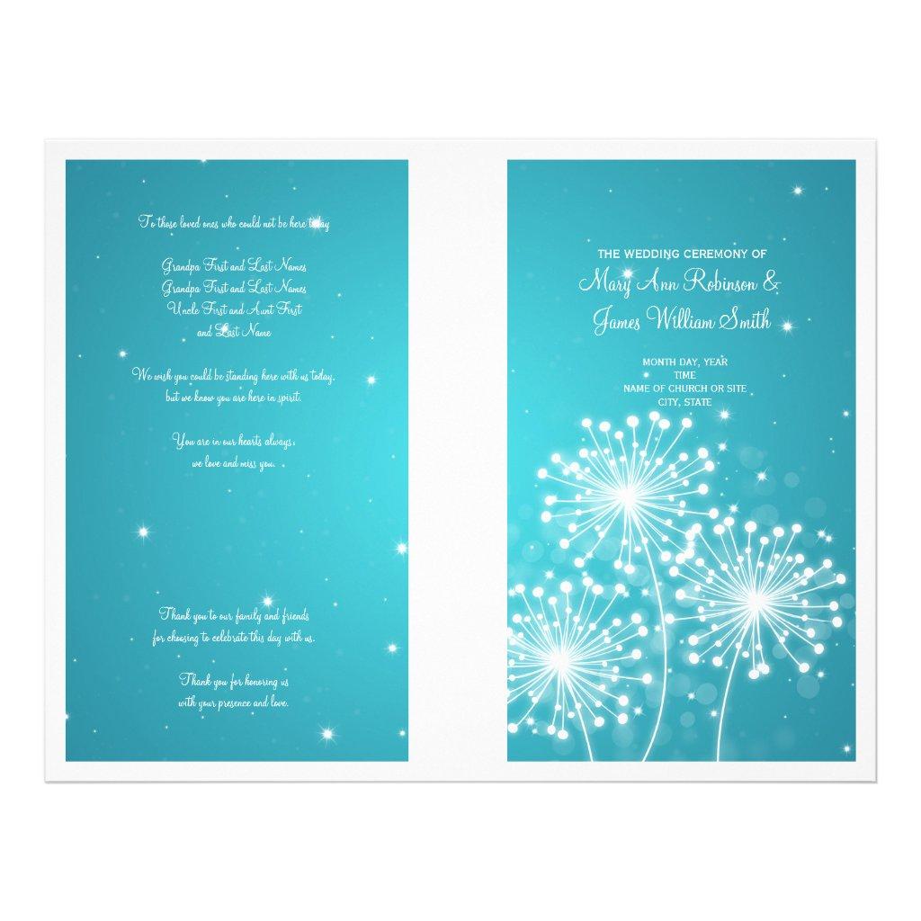Elegant Wedding Program Summer Sparkle Turquoise 25 flyers.