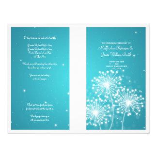 Elegant Wedding Program Summer Sparkle Turquoise Flyers