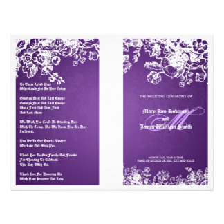 Elegant Wedding Program Victorian Flourish Purple