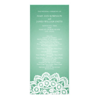 Elegant Wedding Program  Vintage Lace Mint Green Personalized Announcement
