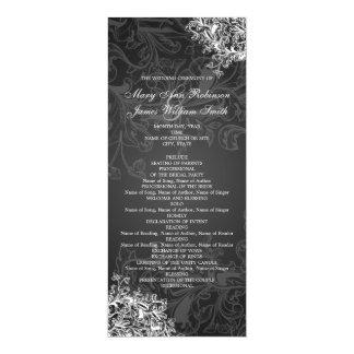 Elegant Wedding Program Vintage Swirls Black 4x9.25 Paper Invitation Card